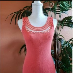 Cache Woven Beaded Neck Tank Top Ribbed Coral, Med